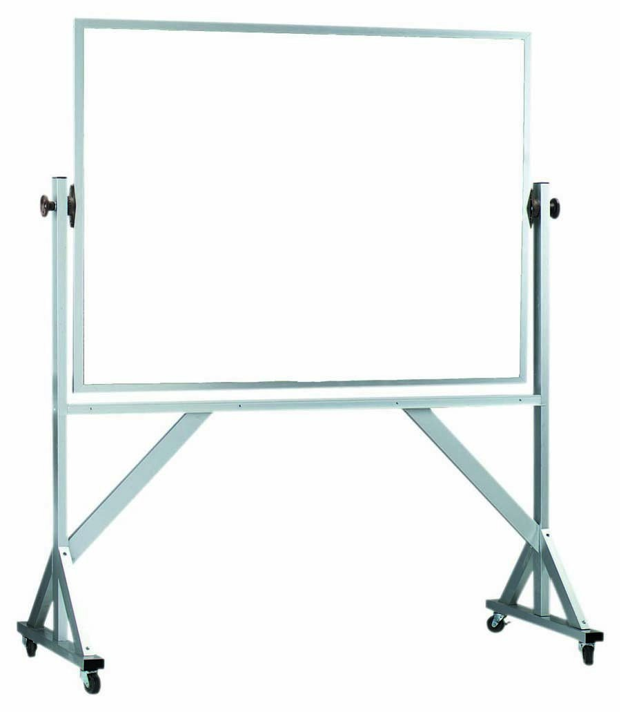 "Aarco Products WARC4872 Reversible Free Standing Aluminum Frame Melamine Marker board Both Sides, 72""W x 48""H"
