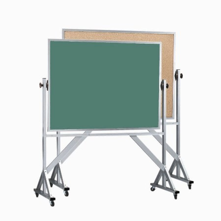 """Aarco Products ACB3648 Reversible Free Standing Aluminum Frame Composition Chalk/Natural Cork, 48""""W x 36""""H"""