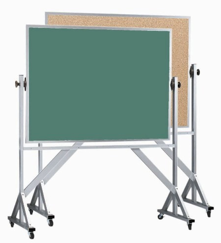 "Aarco Products ACB4260 Reversible Free Standing Aluminum Frame Composition Chalk/Natural Cork, 42""H x 60""W"