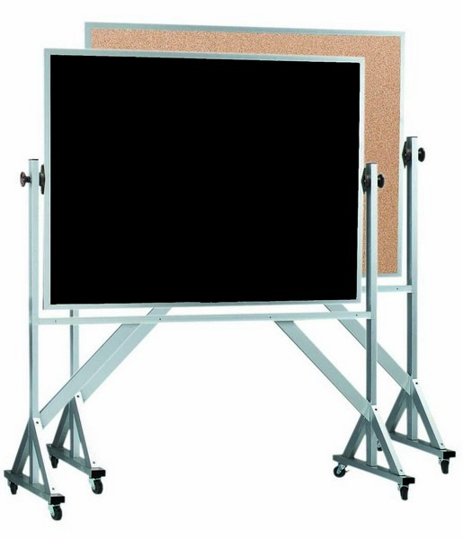 """Aarco Products ACB4872 Reversible Free Standing Aluminum Frame Composition Chalk/Natural Cork, 72""""W x 48""""H"""