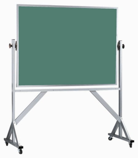 Reversible Free Standing Aluminum Frame Porcelain Chalkboard Both Sides (Choice of colors) - 48