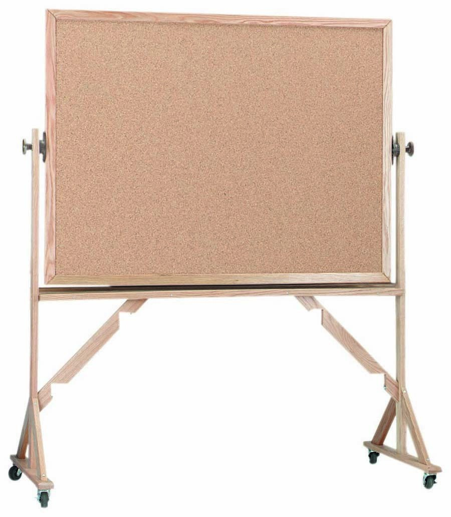"""Aarco Products RBB3648 Reversible Free Standing Oak Frame Natural Cork Both Sides, 36""""H x 48""""W"""