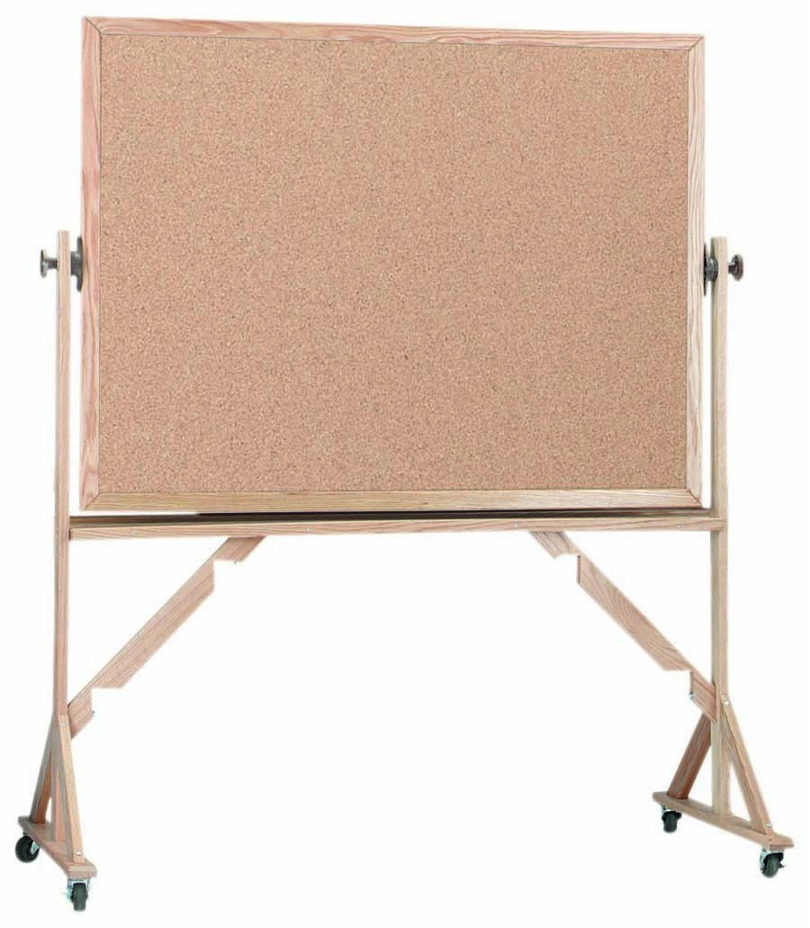 """Aarco Products RBB4872 Reversible Free Standing Oak Frame Natural Cork Both Sides, 48""""H x 72""""W"""
