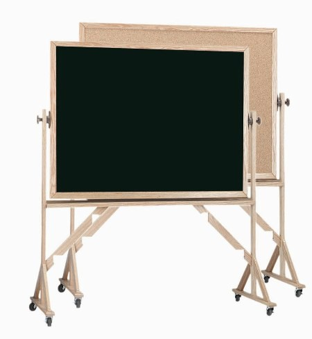 "Aarco Products RBC3648 Reversible Free Standing Oak Frame Composition Chalk/Natural Cork (Choice of Colors), 36""H x 48""W"