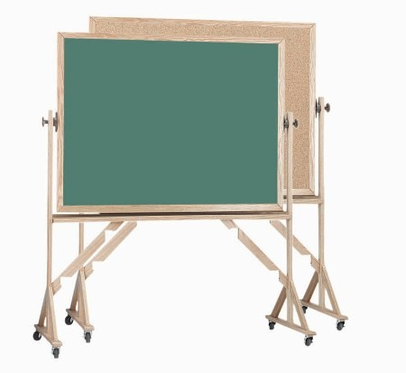 "Aarco Products RBC4260 Reversible Free Standing Oak Frame Composition Chalk/Natural Cork (Choice of Colors), 42""H x 60""W"