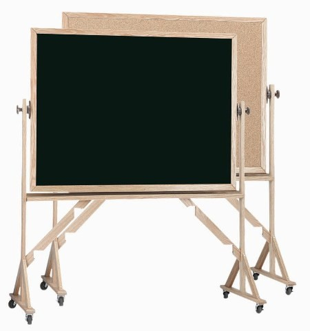 """Aarco Products RBC4872 Reversible Free Standing Oak Frame Composition Chalk/Natural Cork (Choice of Colors), 48""""H x 72""""W"""