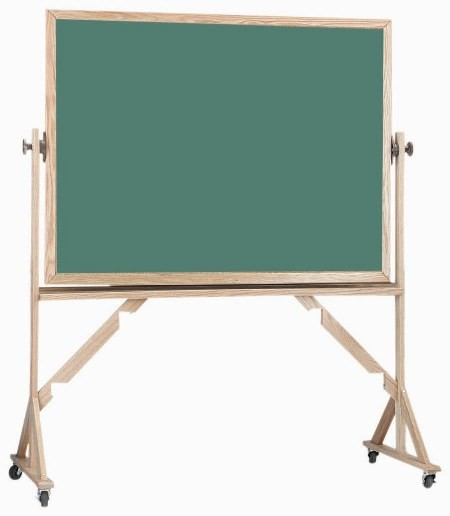 "Aarco Products RC3648 Reversible Free Standing Oak Frame Composition Chalkboard Both Sides (Choice of Colors), 48""W x 36""H"
