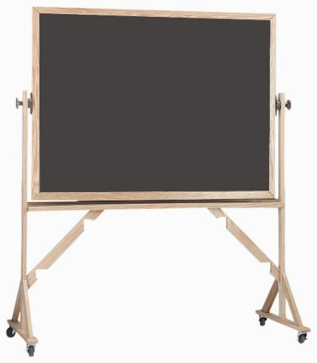 "Aarco Products RS3648 Reversible Free Standing Oak Frame Porcelain Chalkboard Both Sides (Choice of Colors) 36""H x 48""W"