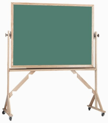 """Aarco Products RS4260 Reversible Free Standing Oak Frame Porcelain Chalkboard Both Sides (Choice of Colors) 42""""H x 60""""W"""