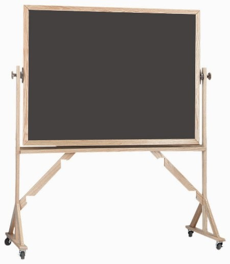 "Aarco Products RS4872 Reversible Free Standing Oak Frame Porcelain Chalkboard Both Sides (Choice of Colors) 72""W x 48""H"