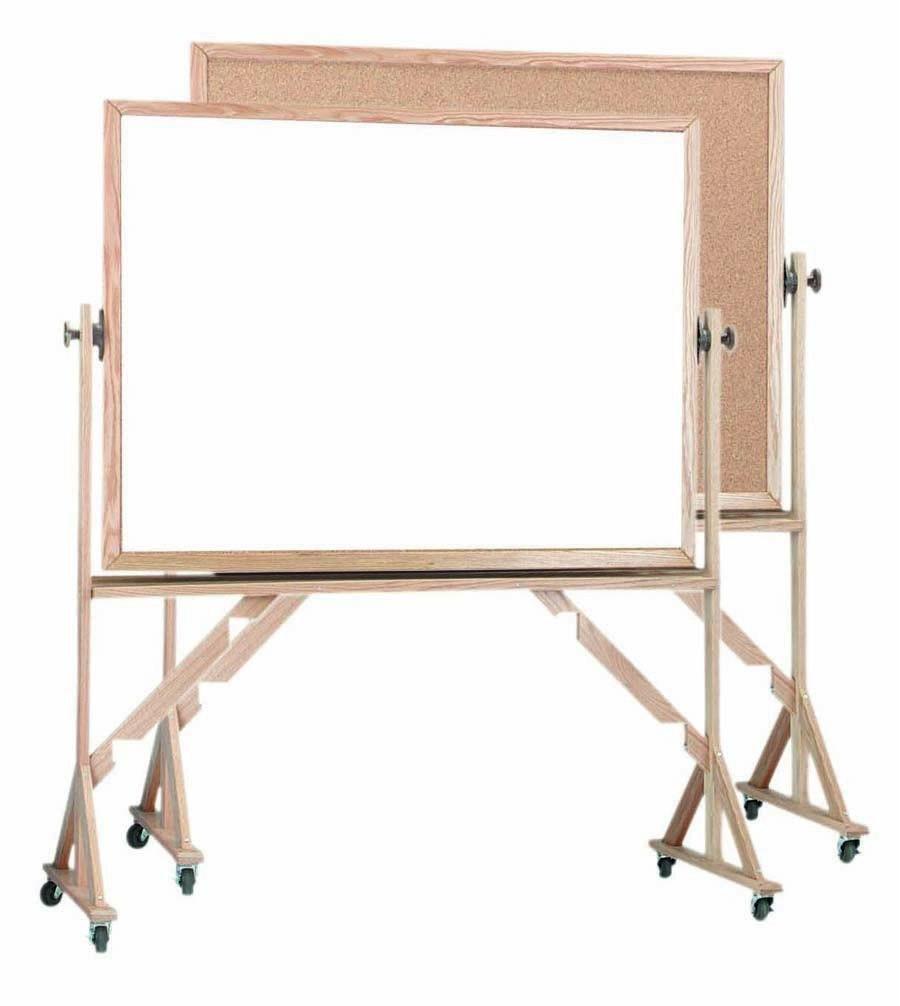 Reversible Free Standing Oak Frame Melamine Markerboard/natural Cork - 36