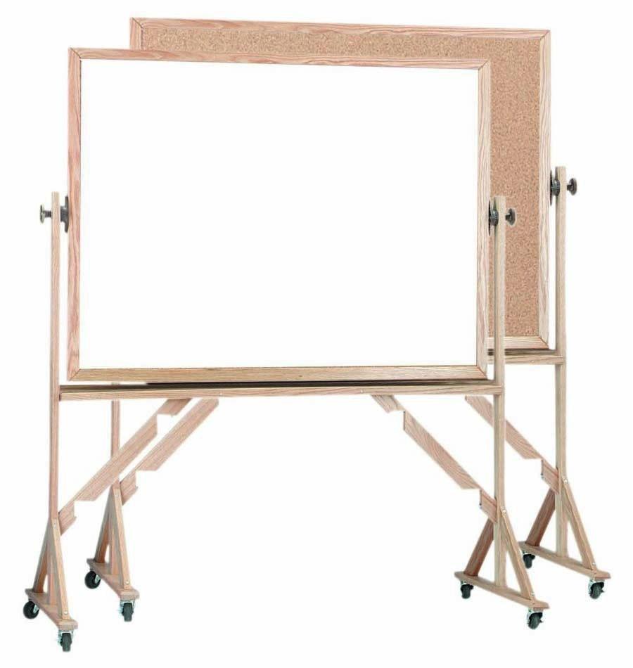 "Aarco Products WRBC4260 Reversible Free Standing Oak Frame Melamine Marker board/Natural Cork, 60""W x 42""H"