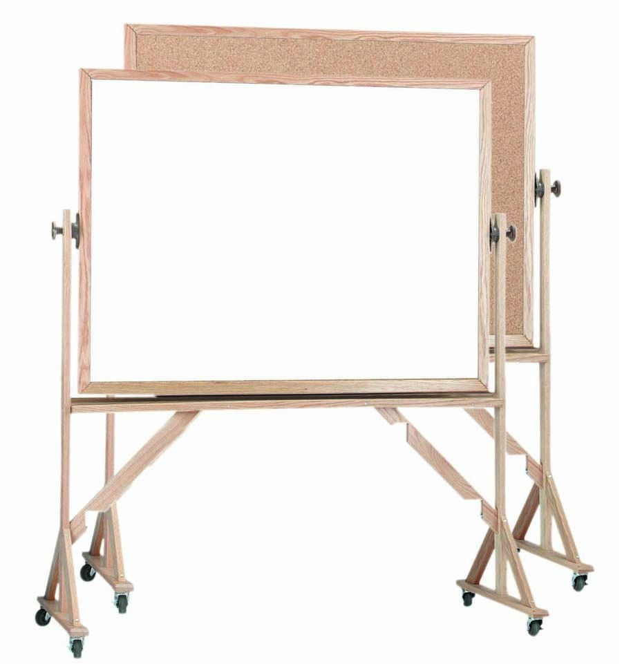 "Aarco Products WRBC4872 Reversible Free Standing Oak Frame Melamine Markerboard/Natural Cork, 48""H x 72""W"