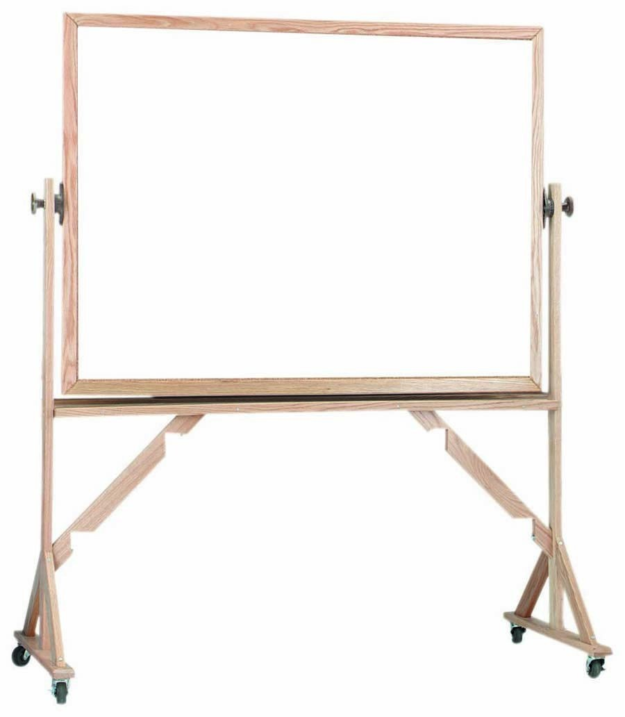 "Aarco Products WRC3648 Reversible Free Standing Oak Frame Melamine Marker board Both Sides, 48""W x 36""H"