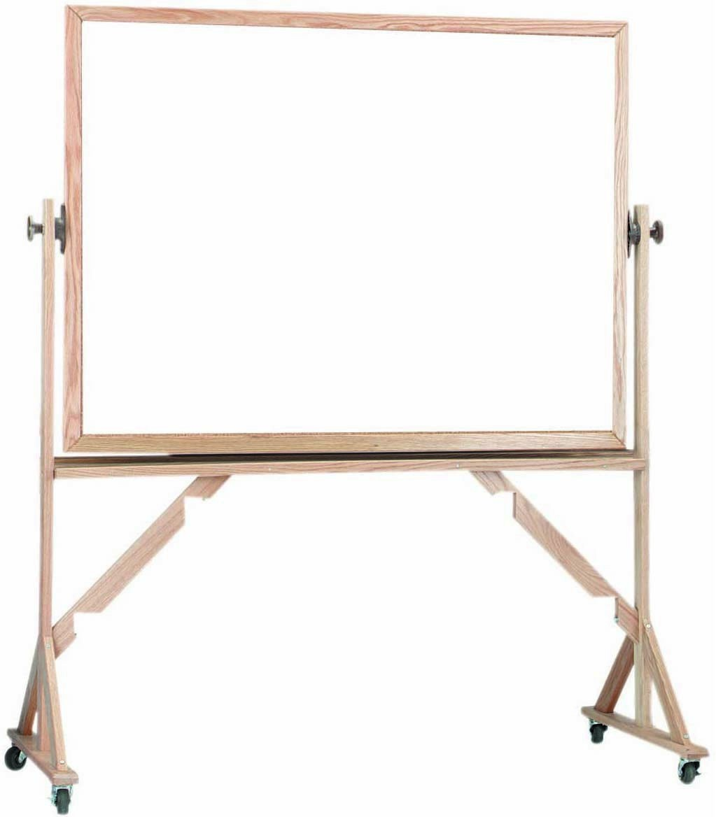 "Aarco Products WRS3648 Reversible Free Standing Oak Frame Porcelain Marker board Both Sides, 48""W  x 36""H"