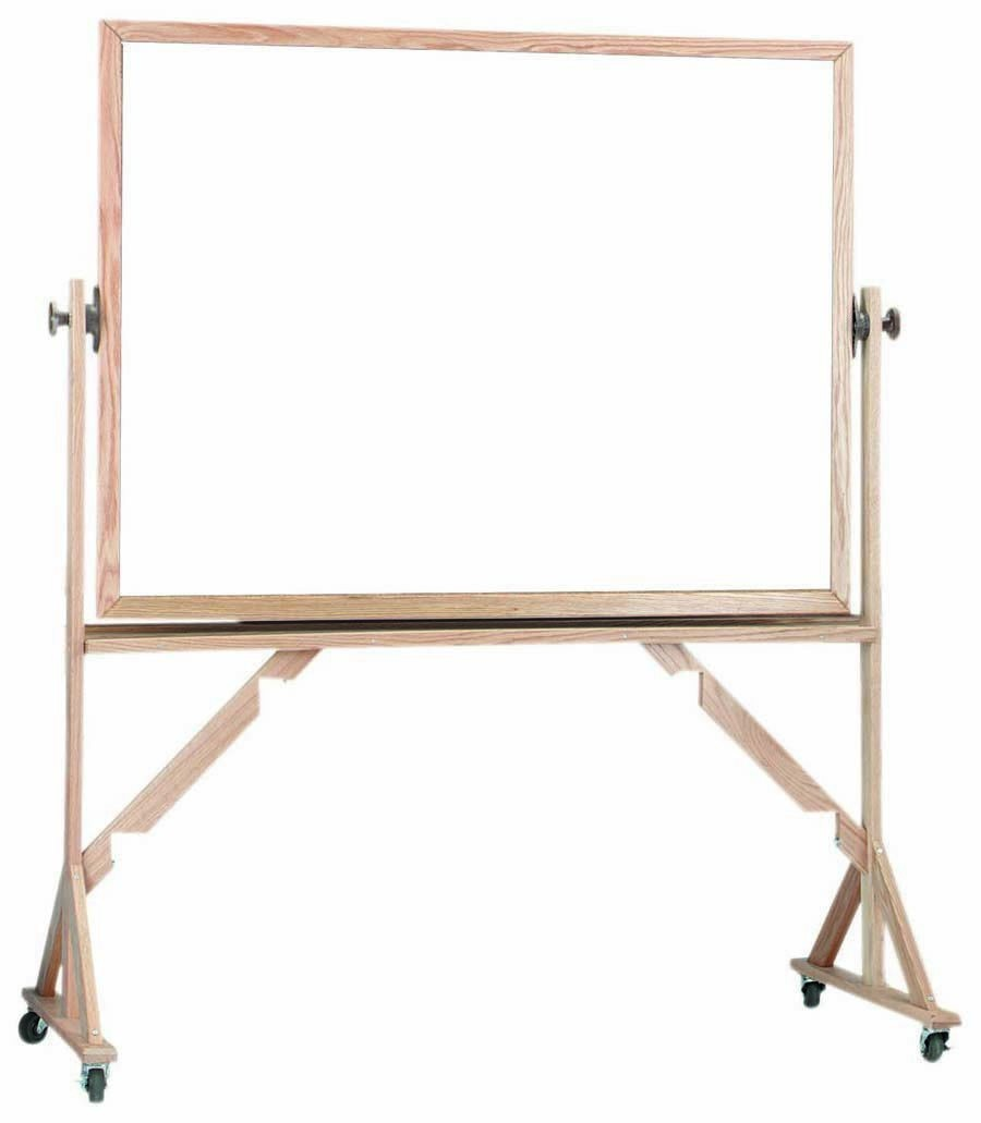 """Aarco Products WRS4872 Reversible Free Standing Oak Frame Porcelain Marker board Both Sides, 72""""W  x 48""""H"""