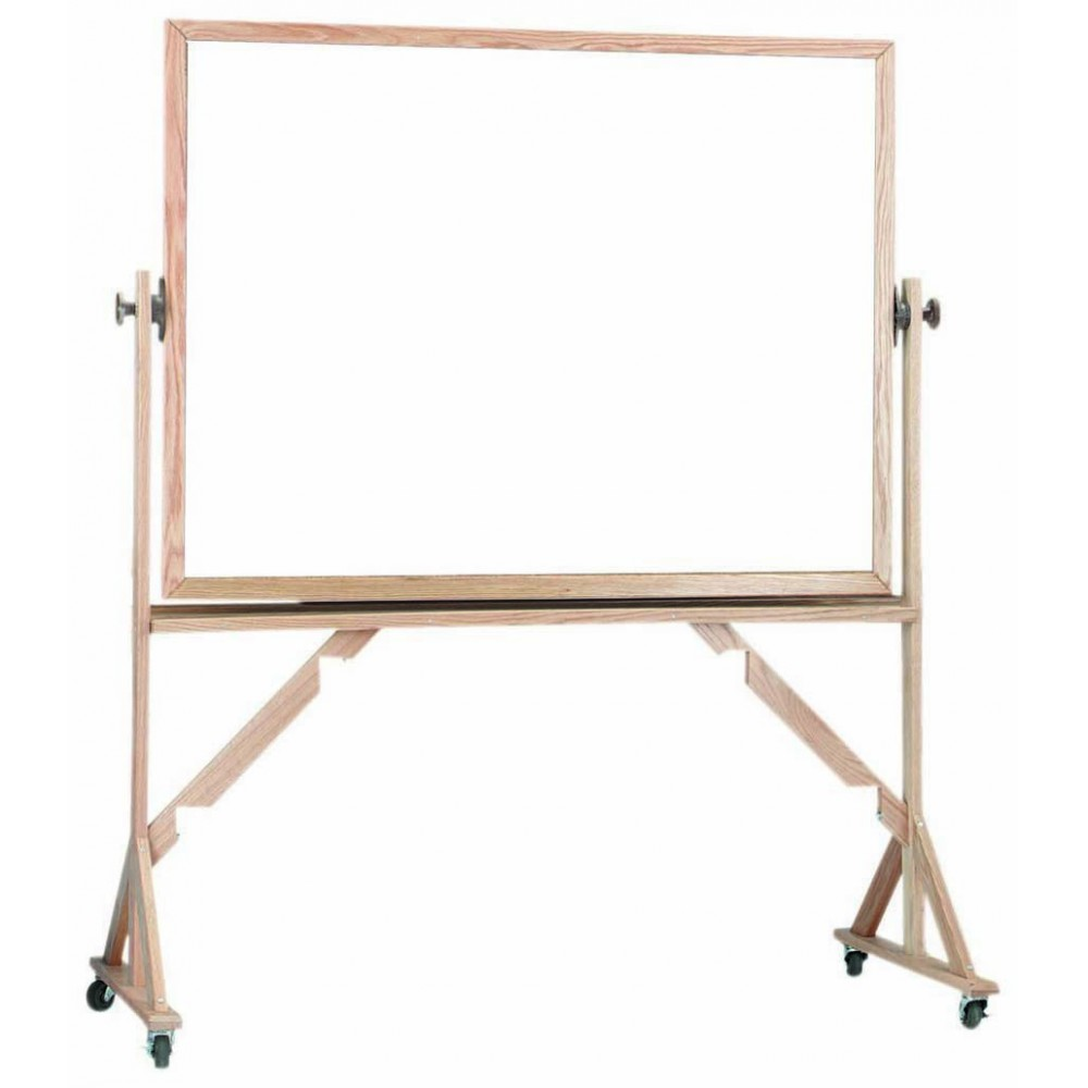 "Aarco Products WRS4872 Reversible Free Standing Oak Frame Porcelain Markerboard Both Sides, 48""H x 72""W"