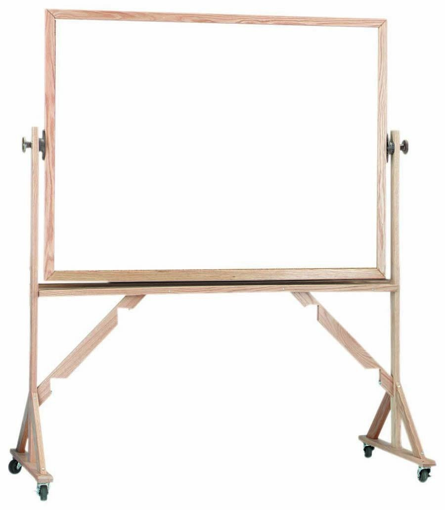 """Aarco Products WRC4260 Reversible Free Standing Oak Frame Melamine Markerboard Both Sides, 42""""H x 60""""W"""