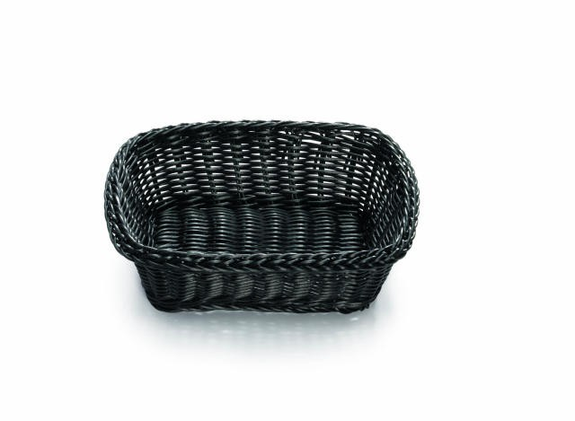 "TableCraft M2493H Black Rectangular Ridal Collection Basket with Handle 19"" x 14"" x 4"""