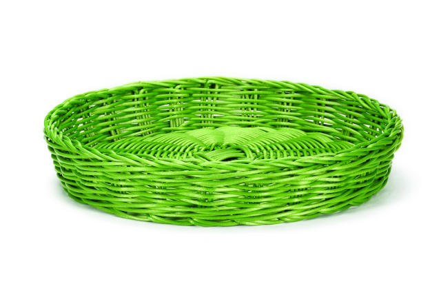 "TableCraft HM1169GN Green Round Handwoven Basket 12"" Dia. x 2"""