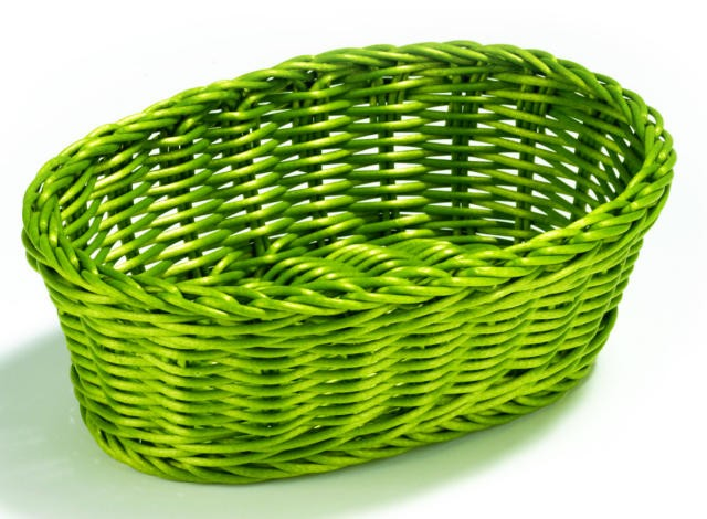 "TableCraft HM1174GN Green Oval Handwoven Basket 9-1/4"" x 6-1/4"" x 3-1/4"""