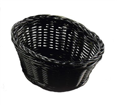 "TableCraft M2471 Black Handwoven Ridal Collection Oval Basket 7-1/2"" x 5-1/2"" x 3-1/4"""