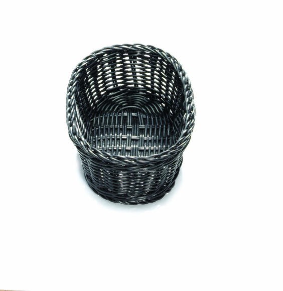 "TableCraft M2474 Black Handwoven Ridal Collection Oval Basket 9-1/4"" x 6-1/4"" x 3-1/4"""