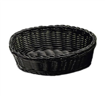 "TableCraft m2476 Black Handwoven Ridal Collection Oval Basket 10"" x 7"" x 3-1/4"""