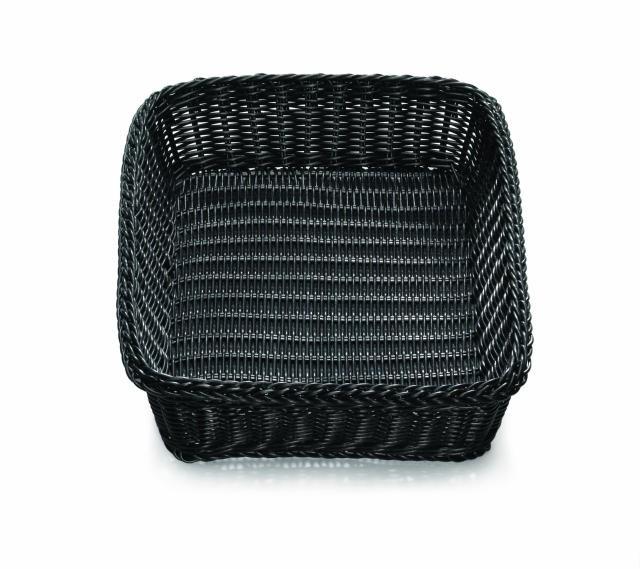 "TableCraft M2493 Black Handwoven Ridal Collection Rectangular Basket 19"" x 14"" x 4"""