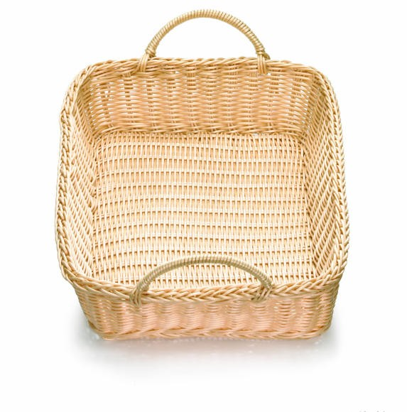 "TableCraft M1193WH Natural Handwoven Ridal Collection Rectangular Basket with Handle 19"" x 14"" x 4"""