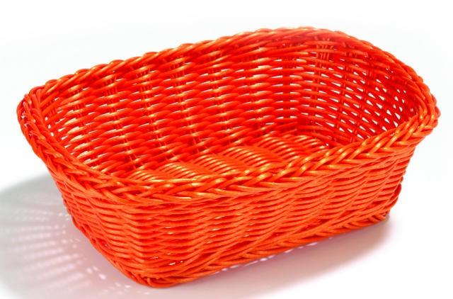 """TableCraft HM1185X Orange Handwoven Rectangular Basket 11-1/2"""" x 8-1/2"""" x 3-1/2"""""""