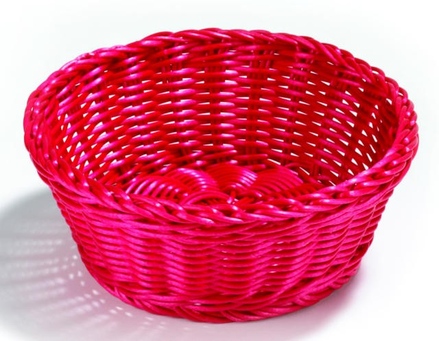 "TableCraft hm1175r Red Round Handwoven Basket 8-1/4"" Dia. x 3-1/4"""