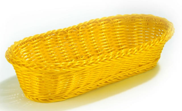 "TableCraft HM1118Y Yellow Oblong Handwoven Basket 15"" x 6-1/2"" x 3-1/4"""