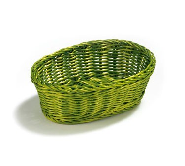 "TableCraft HM1174Y Yellow Oval Handwoven Basket 9-1/4"" x 6-1/4"" x 3-1/4"""