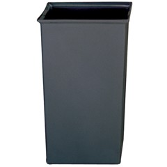 Rigid Liner, Square, Plastic, 35 1/2 gal, Gray
