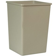 Rigid Waste Receptacle, 35 Gallon, Beige