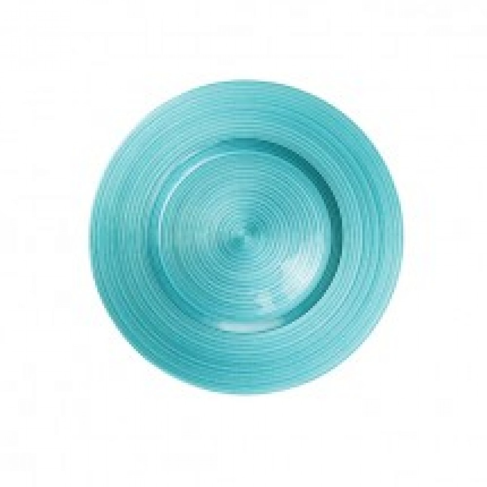 Ripple Glass Charger Plates - Aqua