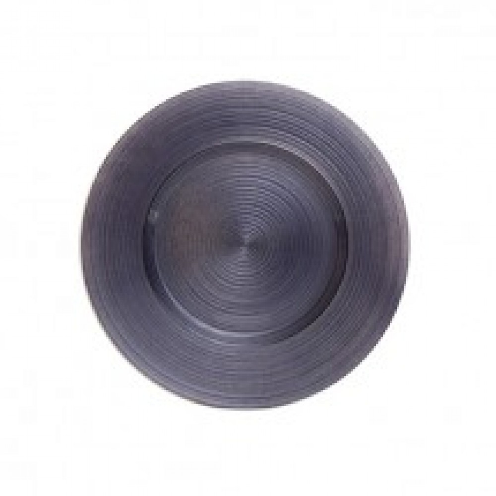 "Koyal 403392 Ripple Glass Charcoal Gray 13"" Charger Plate"