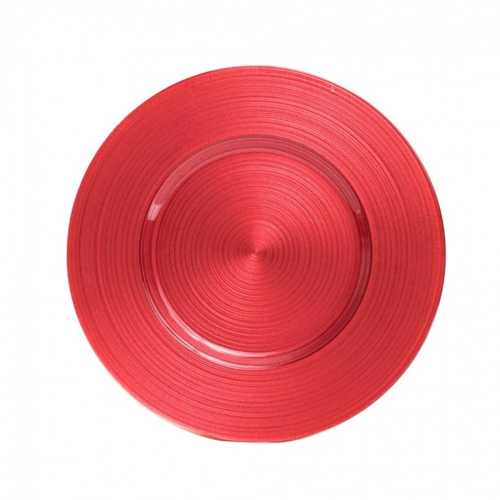 "Koyal 403961 Ripple Glass Coral 13"" Charger Plate"