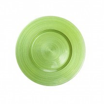 "Koyal 403381 Ripple Glass Lime Green 13"" Charger Plate"