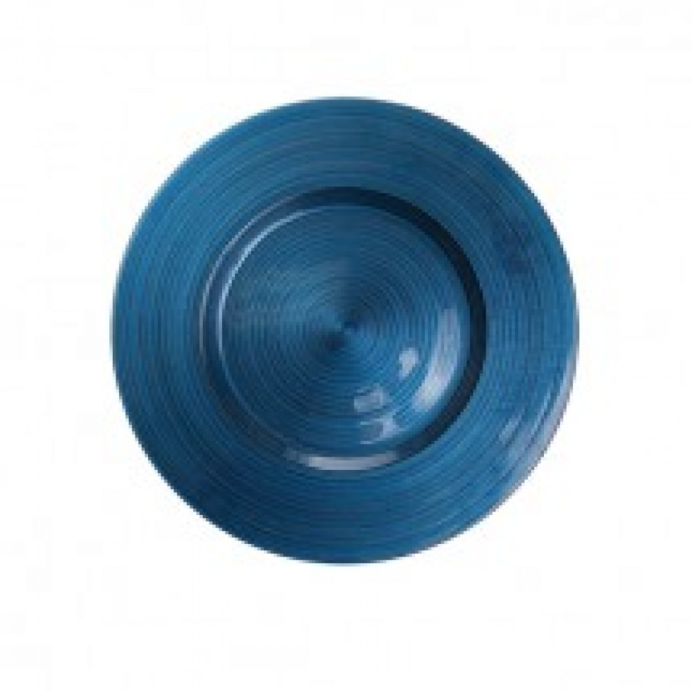 Ripple Glass Charger Plates - Navy Blue