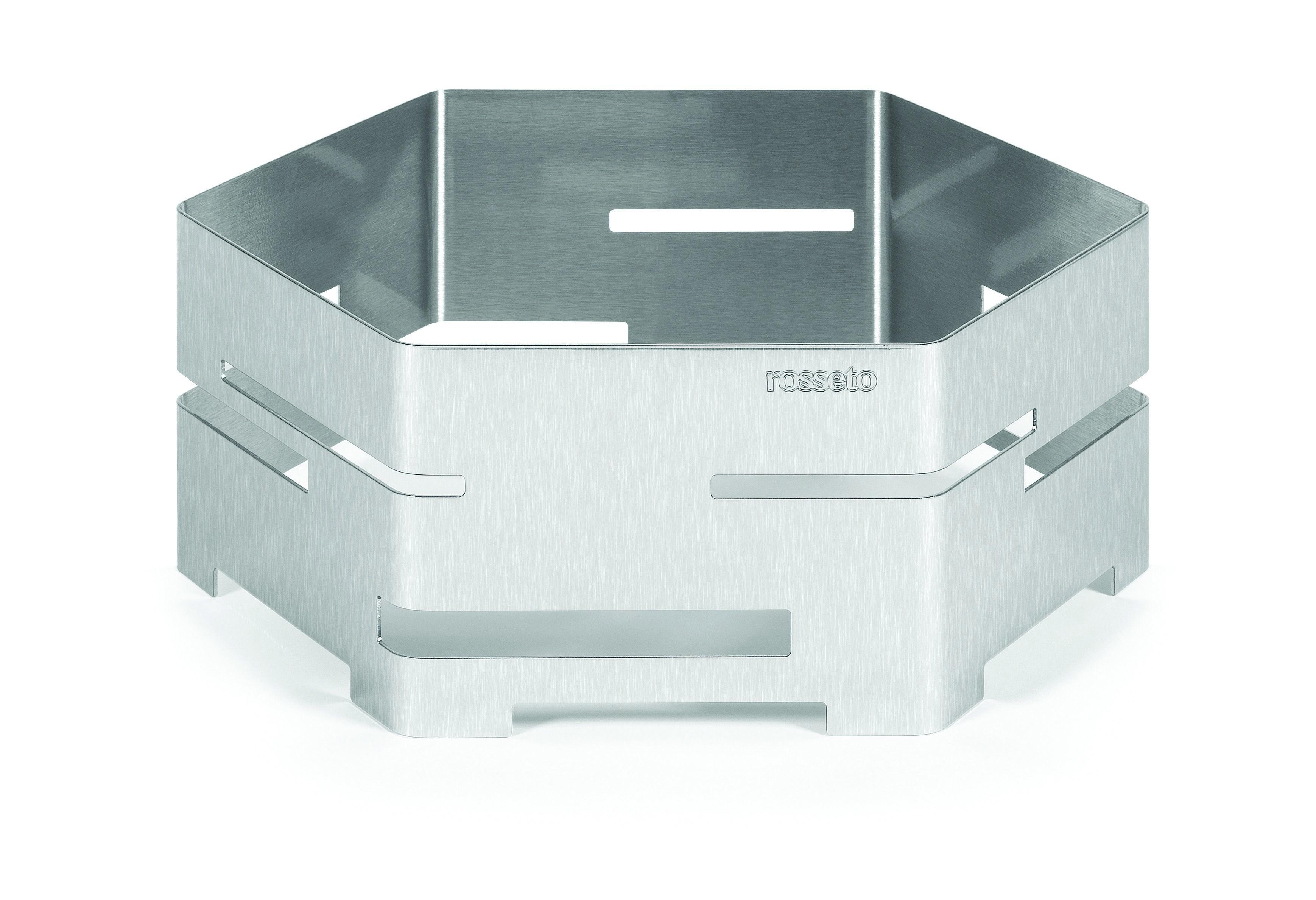"Rosseto SM117 Medium Brushed Stainless Steel Hexagon Riser- 16"" x 16"" x 6""H"