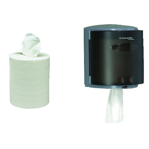 Kimberly Clark Roll Control Center Pull Towel Dispenser, Smoke/Gray