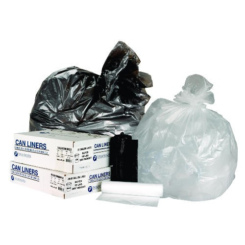 Roll Garbage Can Liner, 60 Gallon, 19 Mic, Black