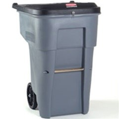 Roll-Out Heavy-Duty Waste Container, Square, Polyethylene, 65 gal, Gray