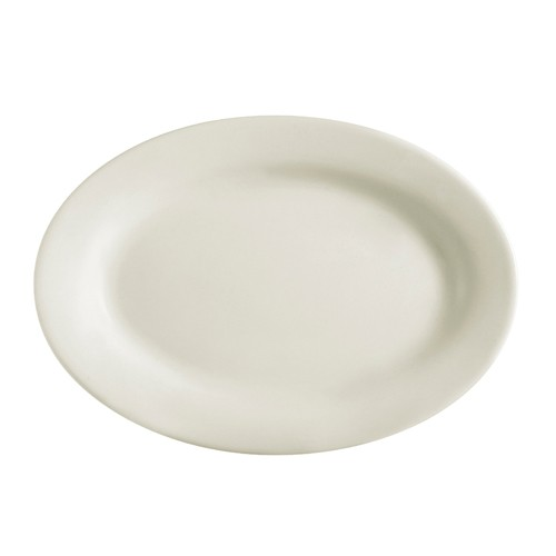 Rolled Edge American White Oval Platter, 16.5