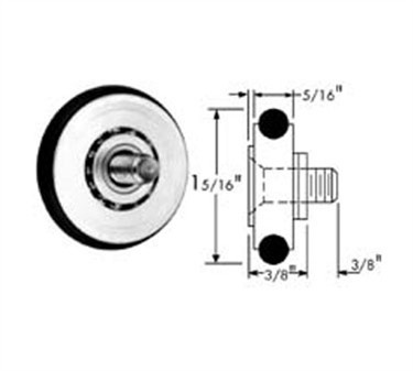 Franklin Machine Products  132-1032 Roller (with Tire, 1-5/16Od, 1/4-20 )