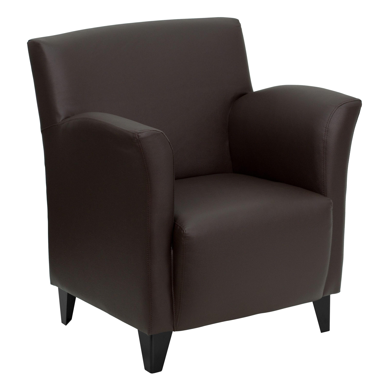 Flash Furniture ZB-ROMAN-BROWN-GG Roman Series Brown Leather Reception Chair