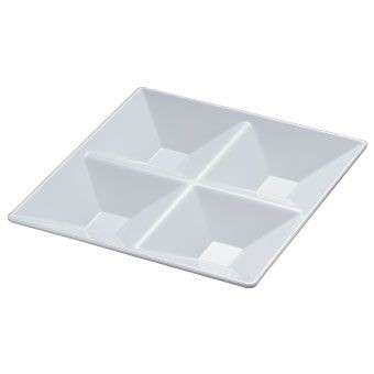 "Yanco RM-822 Rome 11 1/2"" 4-Compartment Square White Melamine Plate"