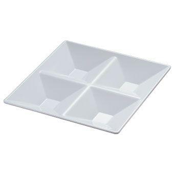 """Yanco RM-822 Rome 11 1/2"""" 4-Compartment Square White Melamine Plate"""
